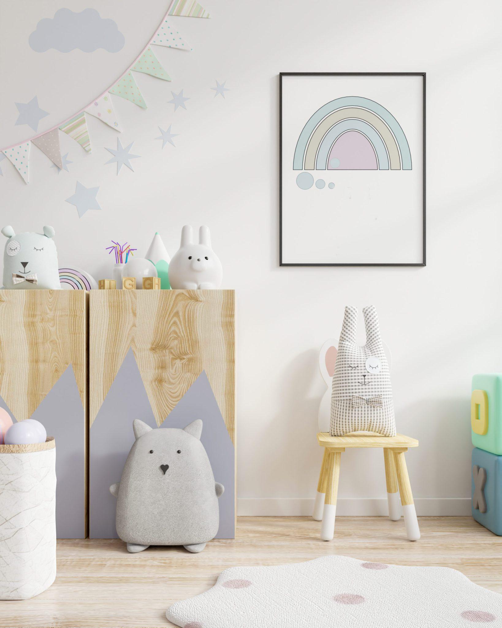 Mock up poster frame in children room,kids room,nursery mockup,3d rendering
